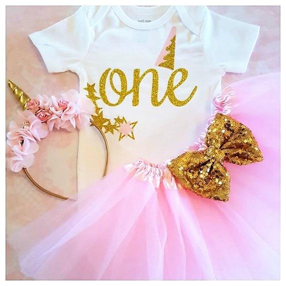 2bd44edb7642 custom name gold unicorn 1st birthday Newborn infant bodysuit onepiece Tutu Dress  romper Outfit Sets baby shower party favors