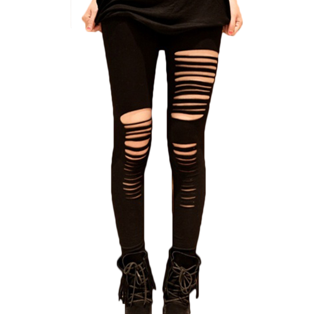 Fashion Style Summer Sexy Leggings Women Cotton Torn Ripped Hole Ninth Pant Leggings Brand New Women Clothing Free Size