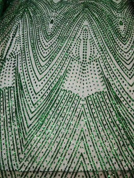 JRB-92709 with glued glitter top selling embroidery african tulle mesh fabric in green color  AL