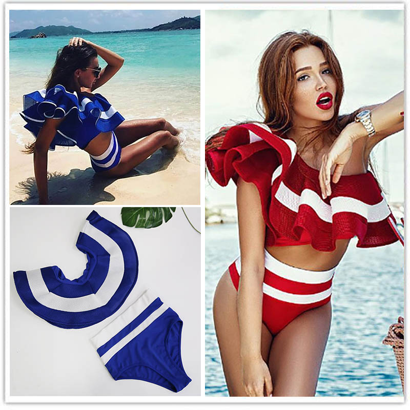 2017 Bikini Push Up Women Swimwear Sexy Solid Ruffles Bandeau Bikini Set Halter Bathing Summer Party Beach Suit vacation shell print halter lace up back beach bikini set
