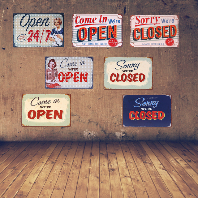 come in we are open metal tin signs for bar sorry we are closed iron