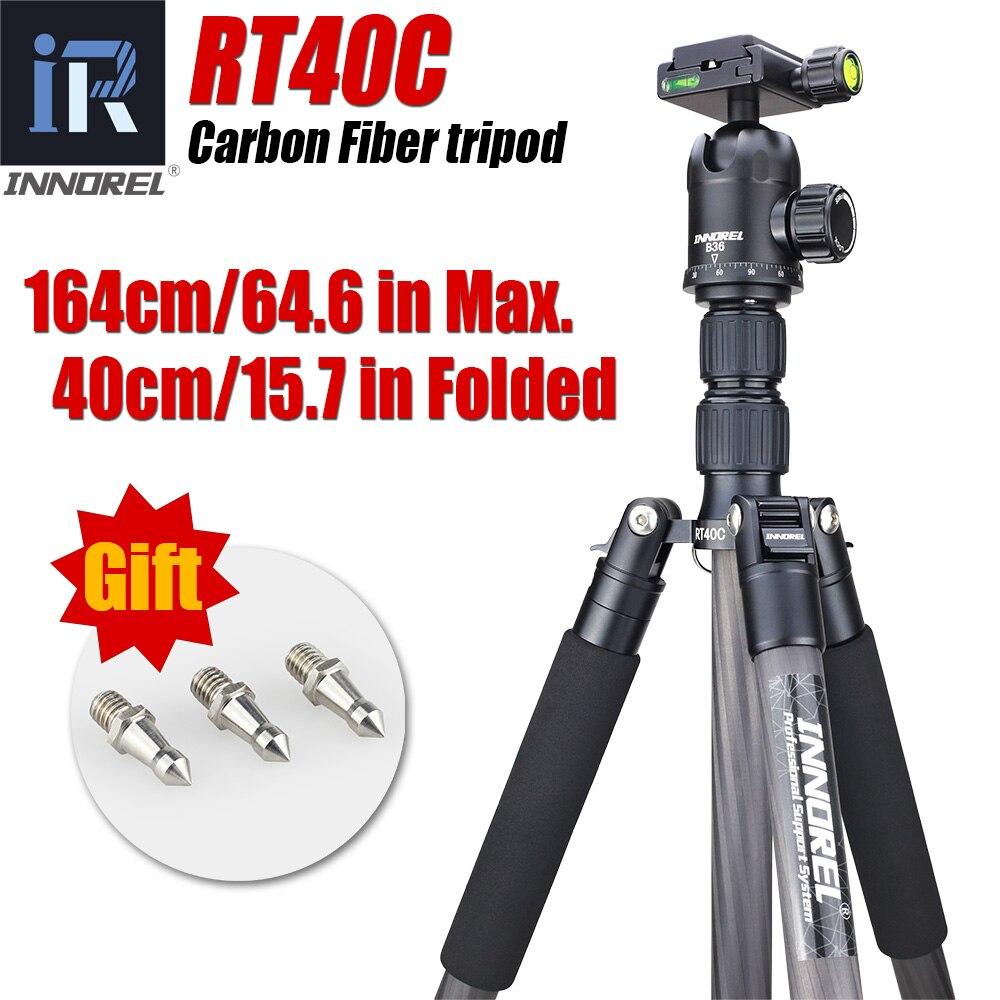 RT40C 12KG bear carbon fiber professional camera tripod compact DSLR monopod stand portable light video tripods цена