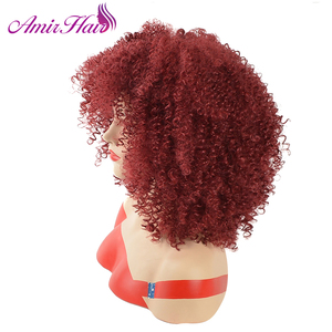 Image 2 - Amir Afro Kinky Curly Short Wigs for Black Women  Mix Brown color Synthetic Wig with combs inside Cosplay