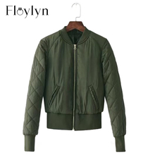Floylyn Army Green Women Basic Coats Cotton Bomber Jacket Quilted Zipper
