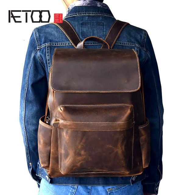 a12607303e66 AETOO Classic first layer of leather men's shoulder bag retro crazy horse  leather travel backpack bag