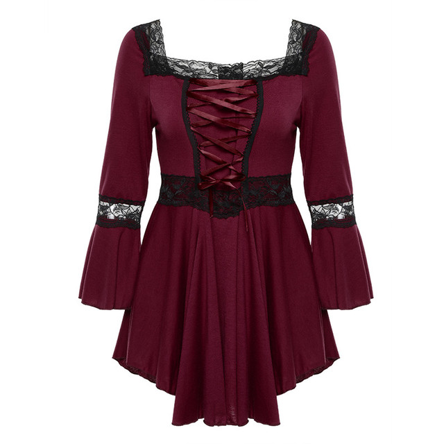 Retro Vintage Ladies Patchwork Lace Dress 2018 Summer Plus Size Ruffle Dresses For Women 4xl 5xl Gothic Party Dress Robes Femme 4