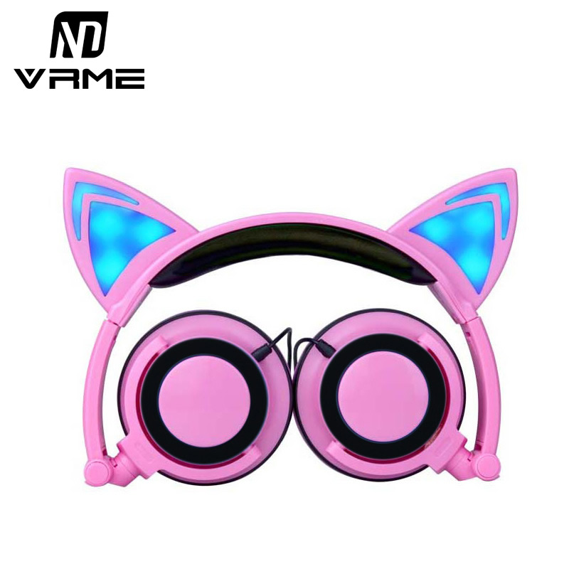 Vrme Cat Ear Headphones Flashing Glowing Cosplay Fancy Foldable Over-Ear Gaming Headsets Earphone with LED for PC Mobile Phone