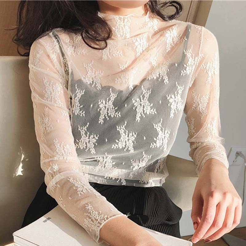7 Colors Sexy Lingerie Lace Elegant Perspective Transparent Hollow Out Mesh Cloth Ladies Pajamas Sleepwear Women Sleep Tops Fem