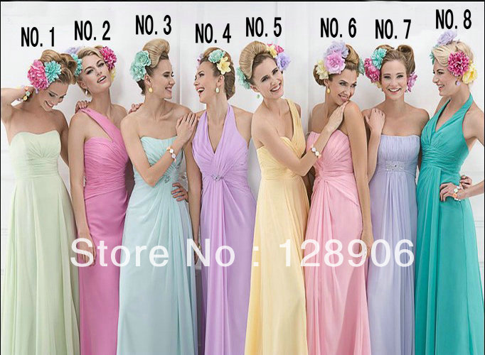 GBR003 New Arrival Wedding Party Dresses Rainbow Color