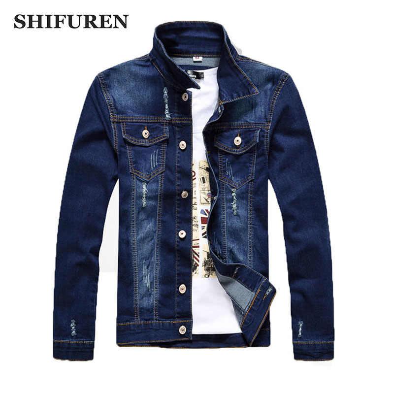 Shifuren Для мужчин рваные Джинсы для женщин куртка с длинным рукавом мужской с бахромой ковбойские мотоциклетные Джинсовые куртки Однобортный уличная