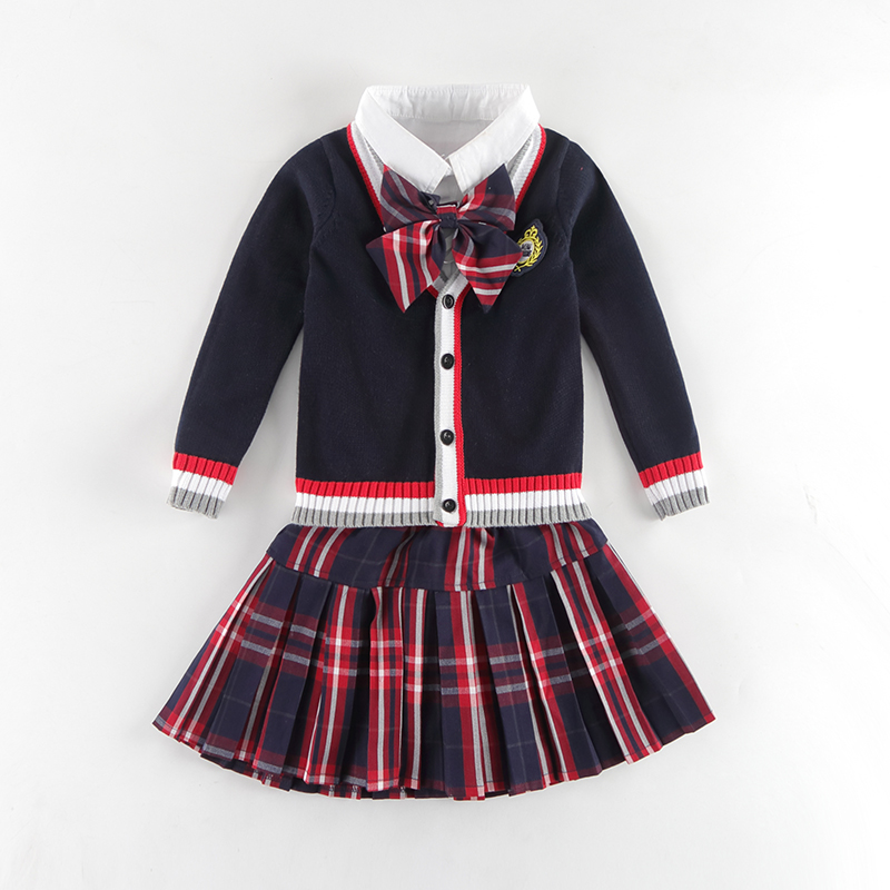 где купить Girls Boys Clothing Set Shirt Skirt Clothes Sets For Girls School Uniform 2018 Fashion Children Suits Uniform Kids Outfit 3-10T по лучшей цене