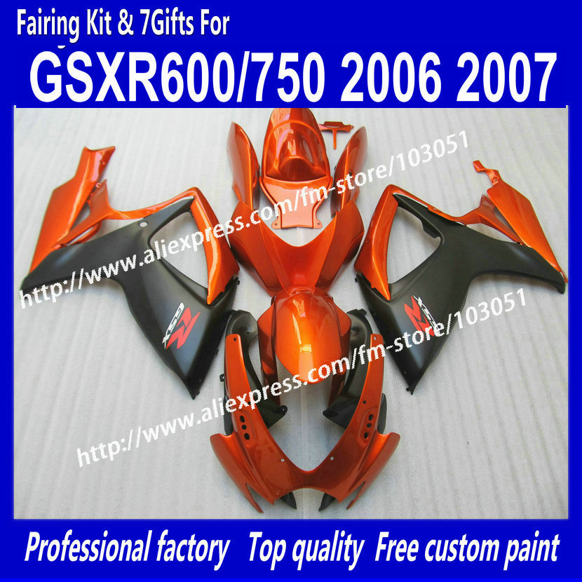 7 GIFTS Motorcycle Fairings for SUZUKI GSXR 600/750 GSX-R600/750 06 07 GSX R600/750 2006 2007 orange red black fairing kit ao26