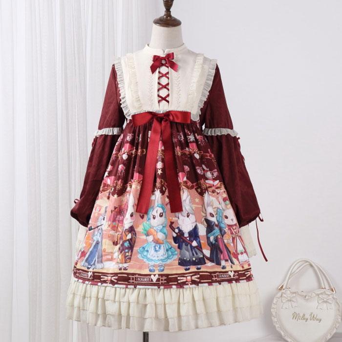 Showa Rabbit Sweet Long Sleeve Lolita Dress with Matching Bunny Ear KC