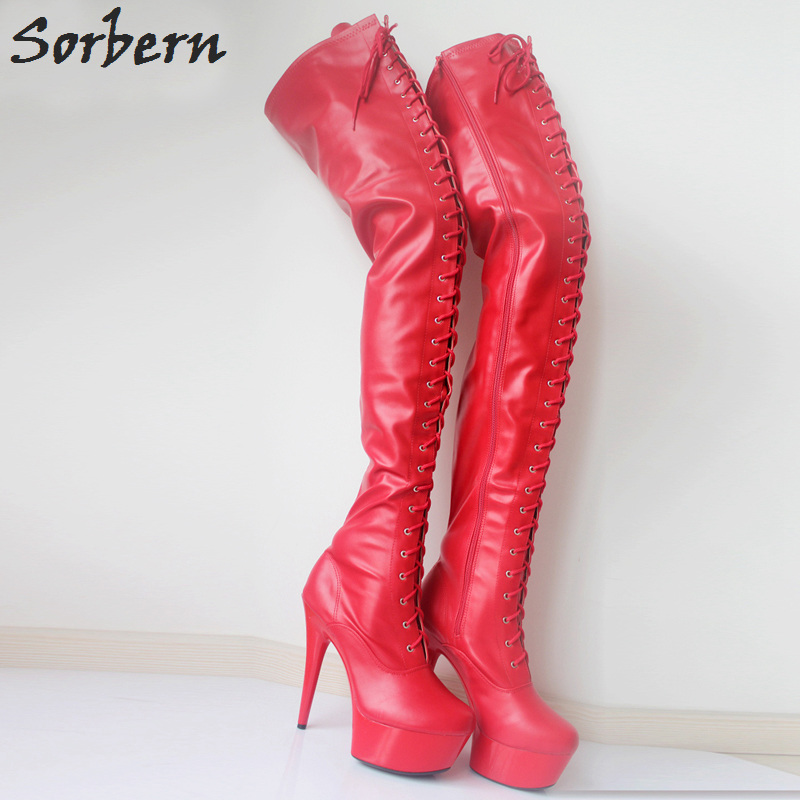 Sorbern Fashion 15cm Extream High Heels Platform Thigh High Boots Over The Knee Boots Long Stripper Boots Heels Ladies Shoes 42Sorbern Fashion 15cm Extream High Heels Platform Thigh High Boots Over The Knee Boots Long Stripper Boots Heels Ladies Shoes 42
