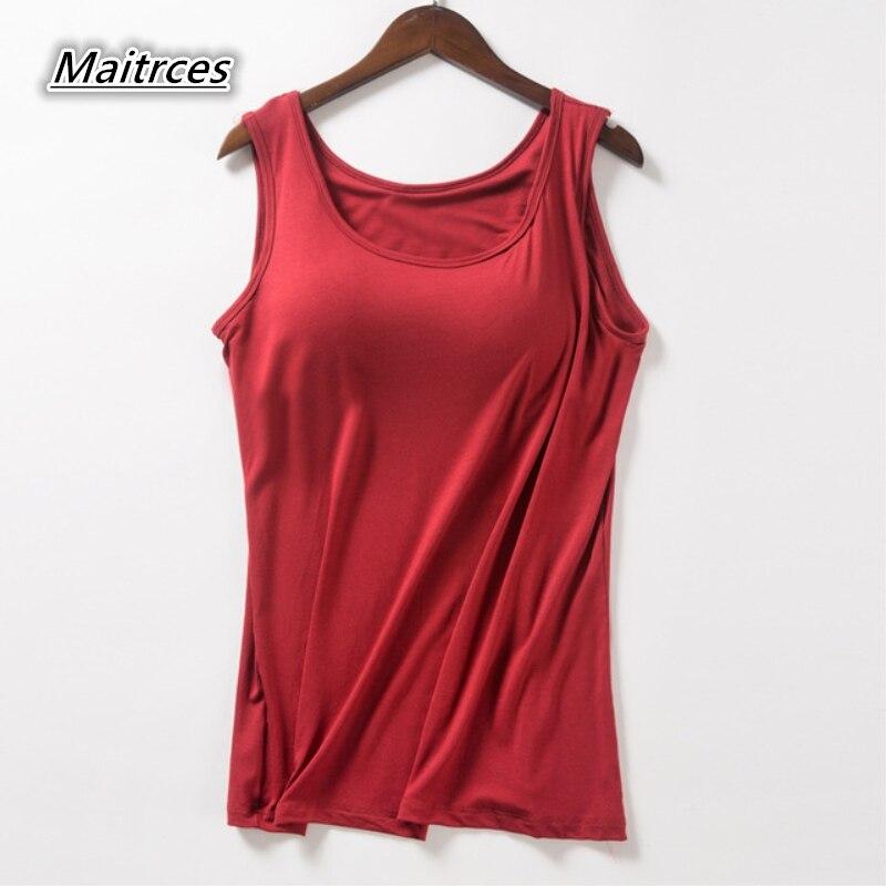 Tank     Top   Built In Bra Sexy   Tops   Tees Women Summer Sleeveless   Top   T Shirt Women's Modal Plus Size Thin Vest TX033