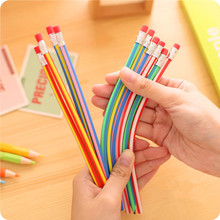 60pcs/lot Cute Colorful Magic Bendy Flexible Soft Pencil with Eraser Writing Office School Supplies Stationery For Kids