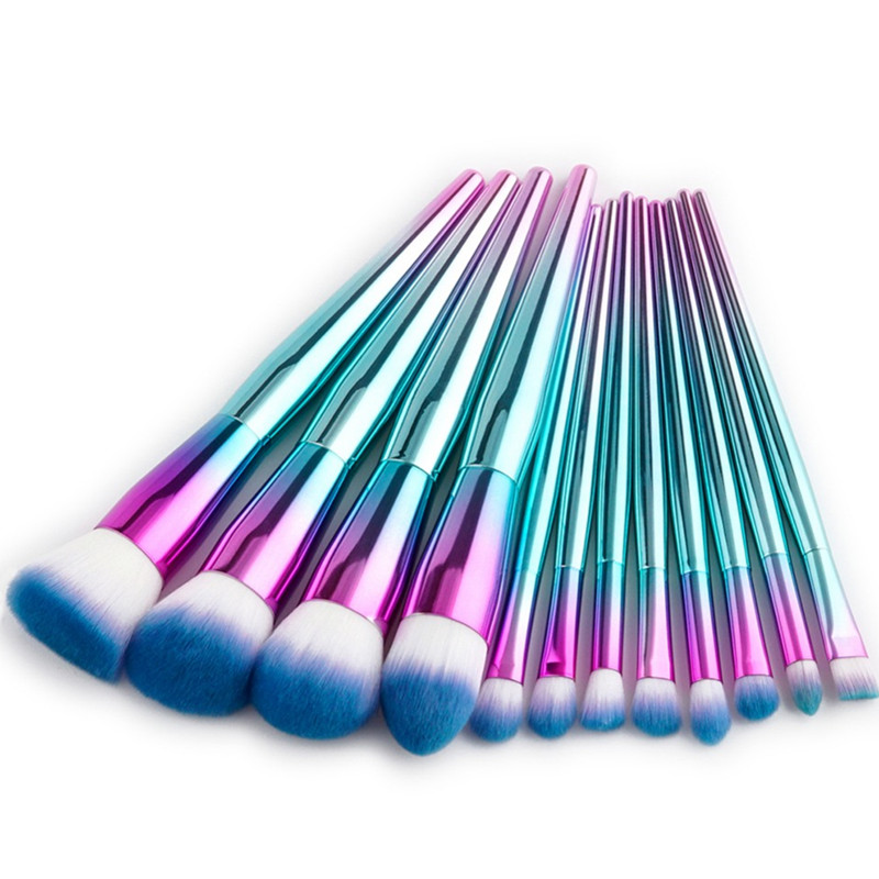 12Pcs Pro Makeup Brushes Set Cosmetics Contour Concealer BB Cream Eyebrow Foundation Brush Colorful Rainbow Face Blending Brush