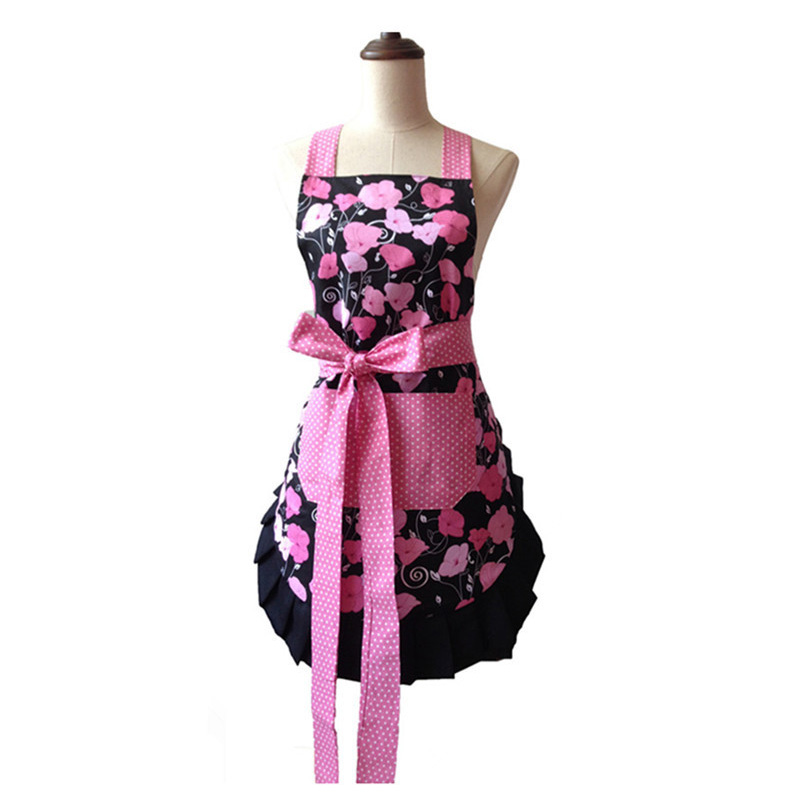 US $11.99 40% OFF|Retro Kitchen Apron Woman Flirty Midnight Bloom Black  Ruffled Floral Cooking Avental de Cozinha Divertido Pinafore Apron  Vintage-in ...
