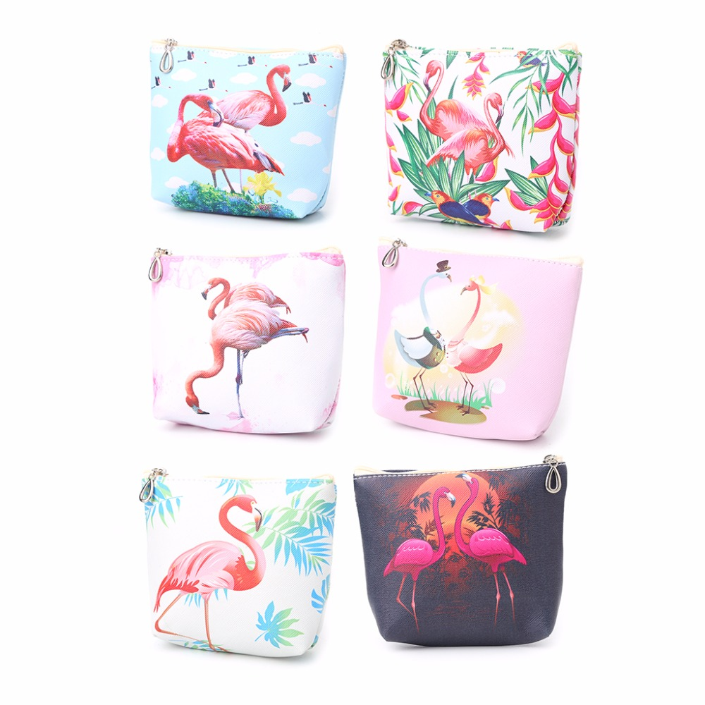 THINKTHENDO Cute Flamingos Change Money Wallet Mini Coin Bag Pouch Wallet Key Holder Case 6 Color thinkthendo 3 color retro women lady purse zipper small wallet coin key holder case pouch bag new design