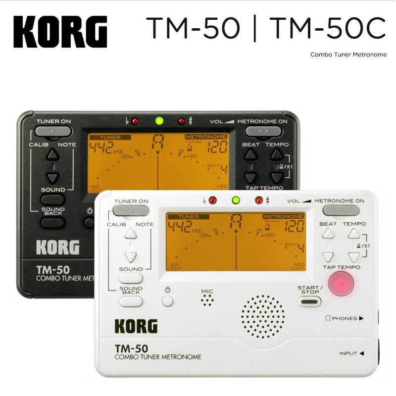 Korg TM-50 TM-60 Tuner / Metronome Black and White disponible para instrumentos de viento, guitarra, ukelele y piano.