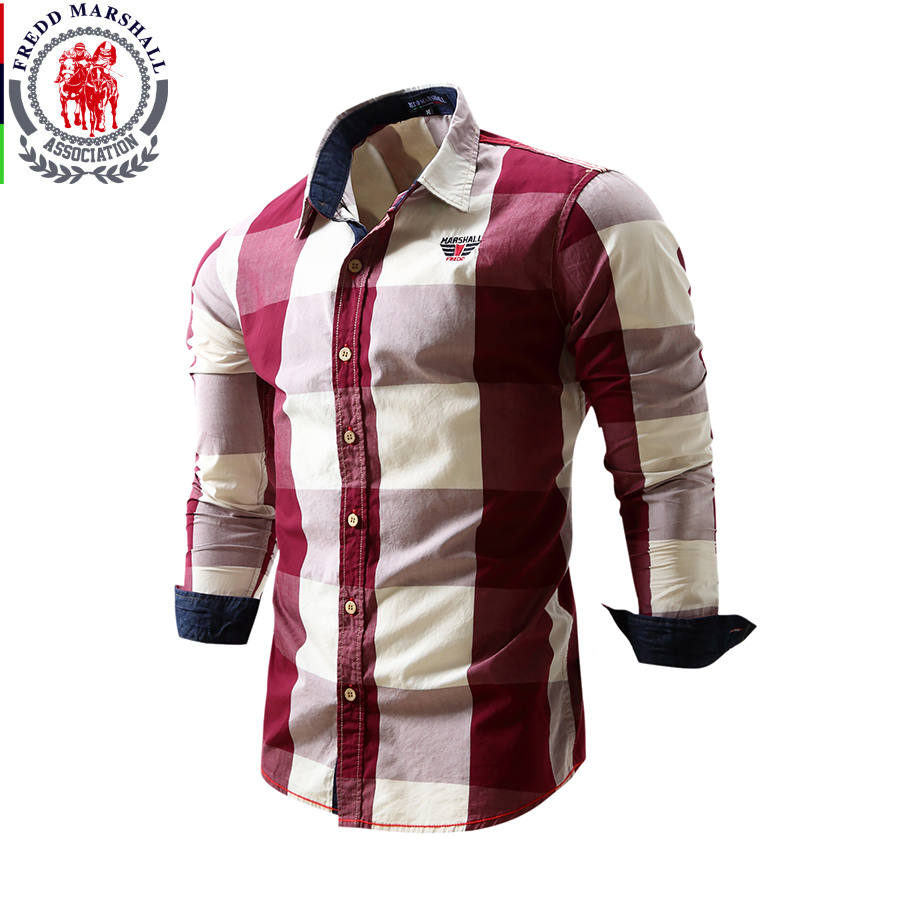 2017 Brand Clothing Men's Fashion Plaid Shirts Full Sleeve ...