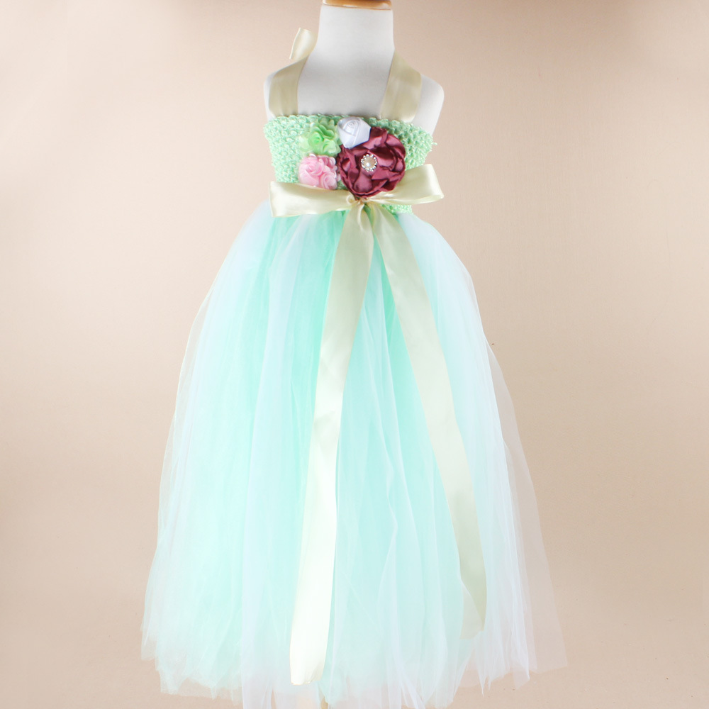 Fashion cyan orange children flower girls dresses toddler girl kids ...