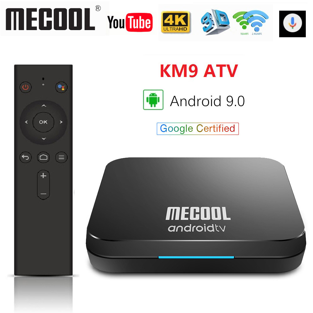 2019 Mecool KM9 ATV 4G 32G Android 9.0 TV Box Google Certifié Amlogic S905X2 2.4G/5G Double Wifi Androidtv 9.0 boîtier de smart tv