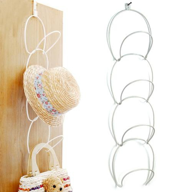 White/Black Metal Wire Stackable Wall Mounted Hanging Storage Over The Door Hat Rack BC390