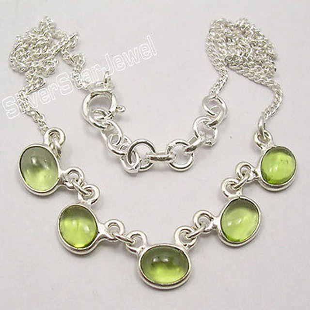 "Silver CABOCHON GREEN PERIDOT 5 STONE STYLISH Necklace 16 3/4"" NEW"
