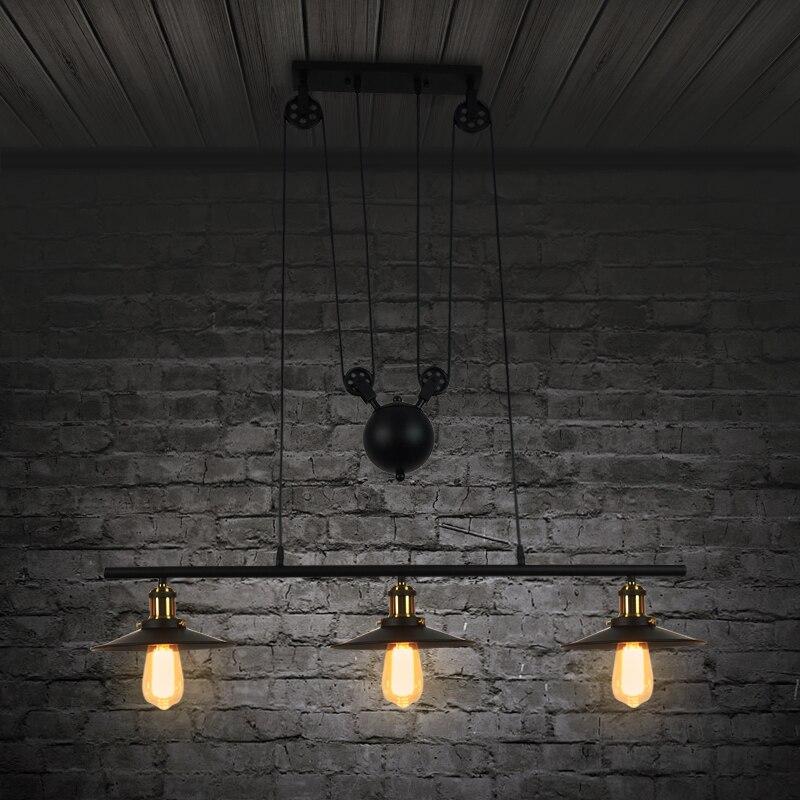 Loft vintage pendant lights Iron Pulley Lamp Bar Kitchen Home Decoration E27 Edison Light Fixtures droplight