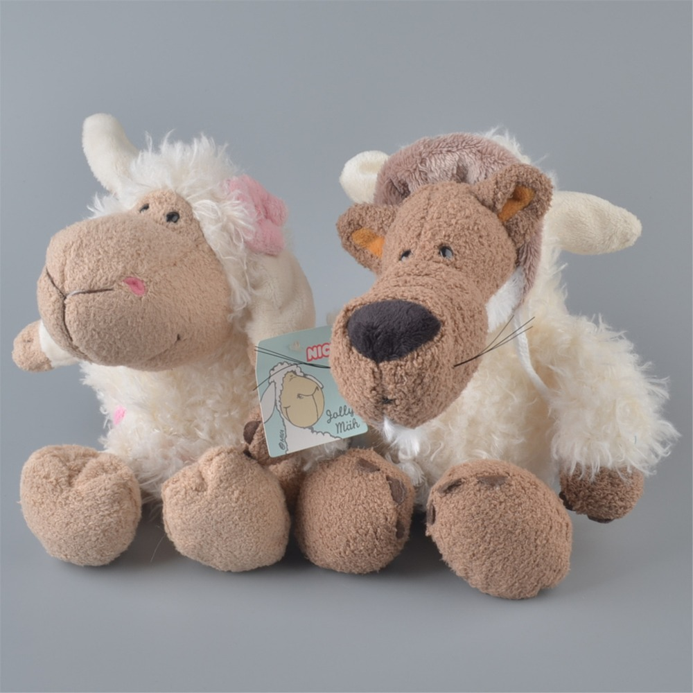2Pcs 25cm NICI White Sheeps And White Wolf Stuffed Plush font b Toy b font Baby