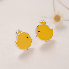 925 sterling silver Stud earrings Cute chicks  Women fashion jewelry wholesale chicks