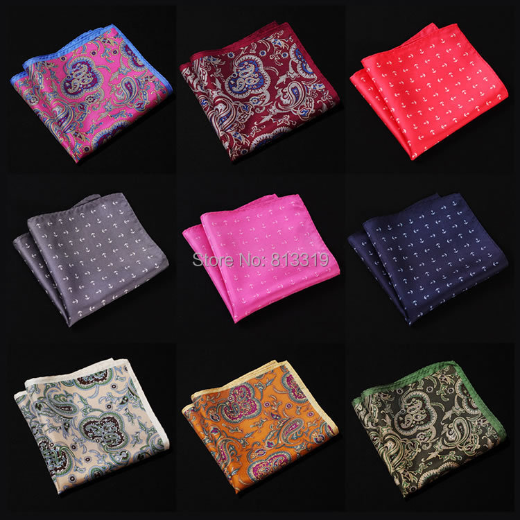 Paisley Anchor Handkerchief 100% Natural Silk Satin Mens Hanky Fashion Classic Wedding Party Pocket Square