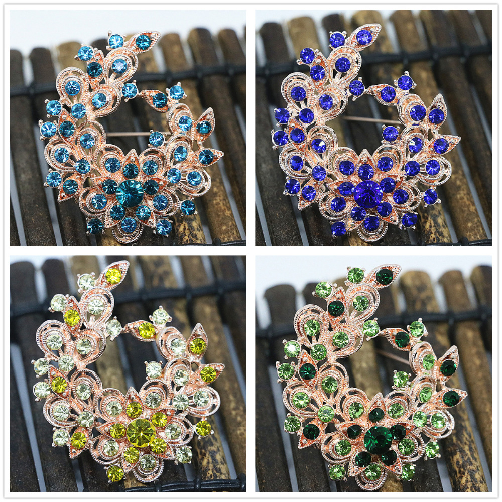 Exquisite flower 8 colors rhinestone crystal brooches rose gold plated clothes charms pins jewelry B1441