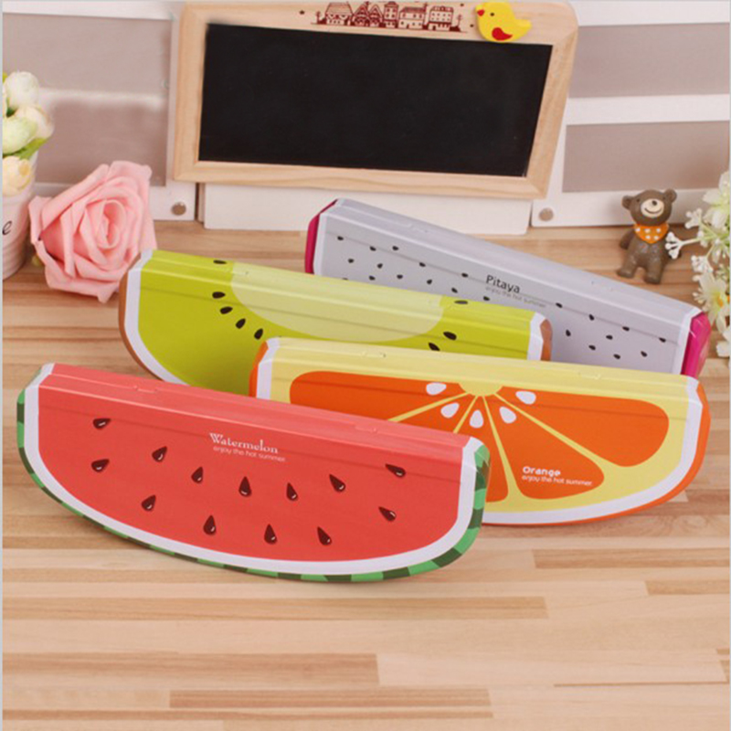 factory wholesale custom iron stationery case creative fruit pencil box 21.5*8*3.5cm learning activities of school students use  цены
