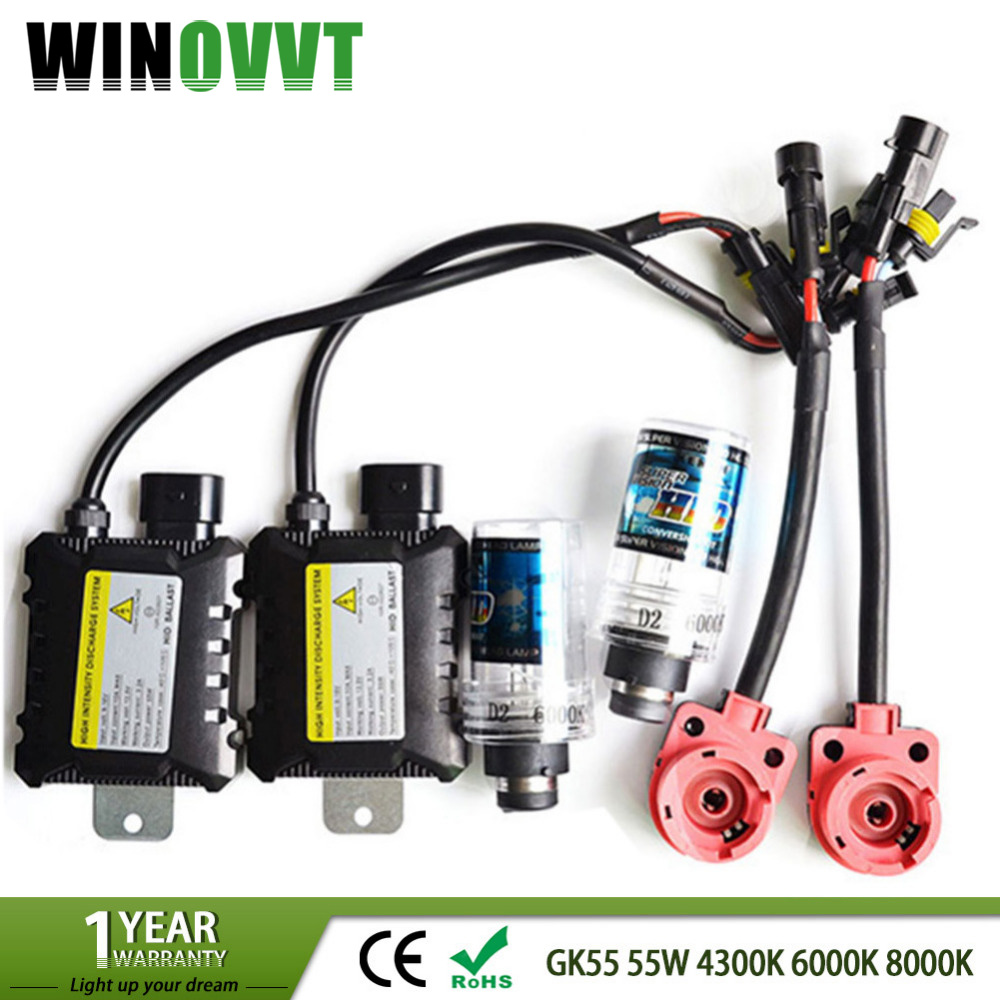 DC 55W D2S Xenon HID Kit 4300k 6000k 8000k xenon d2s d2c HID Ballast 12V xenon Light bulb for car Headlight lamp makibes h3 55w 12v xenon hid kit car headlight xenon bulb