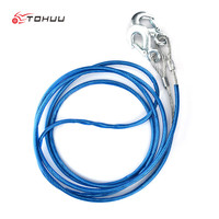 4 Meters 3 Tons Car Towing Rope Steel Wire Traction Rope Emergency Equippment With Pull Rope