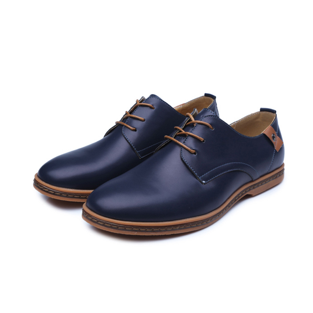 Brand New Leather Concise Men Business Round Toe Black Blue Shoes Breathable Formal Wedding Basic Shoes Men Dress Shoes Fashion