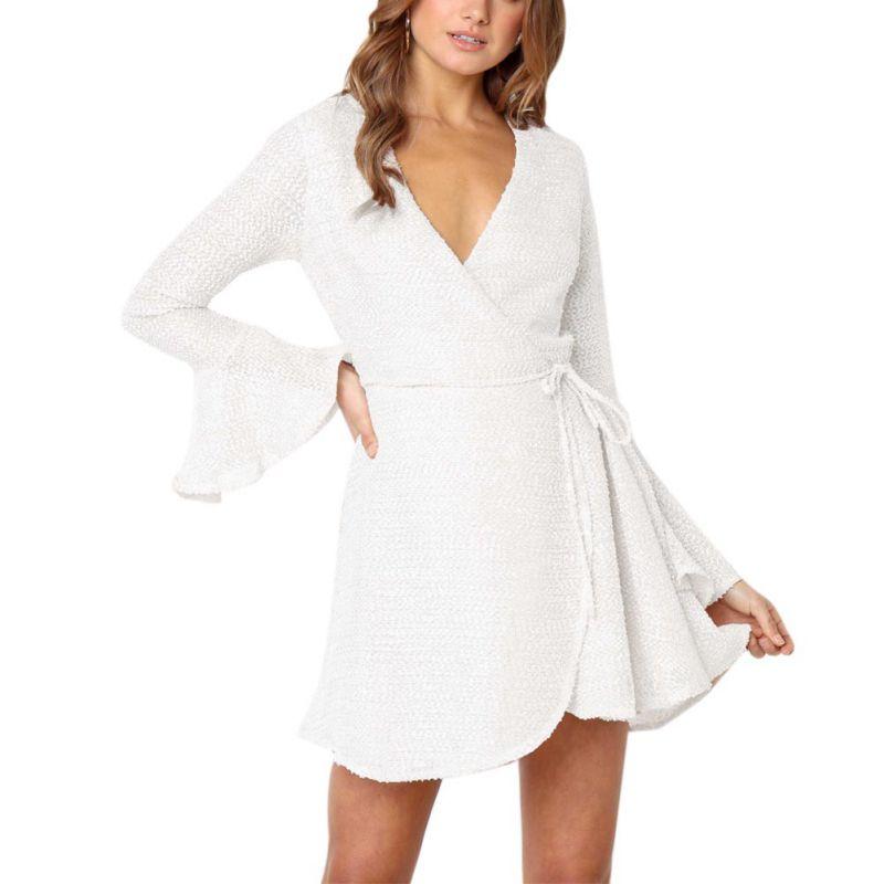 Новый Для женщин эластичные облегающие пояс с длинным рукавом сексуальное платье с глубоким вырезом, с ремешками крест-накрест Мини-платья ...