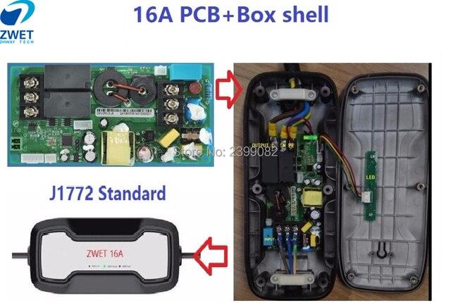 ZWET J1772 EVSE voiture électrique IEC 62196 Type2 EV carte de contrôleur de charge spéciale 16A/entrée 220 ~ 250 V PCBA et boîte sholl