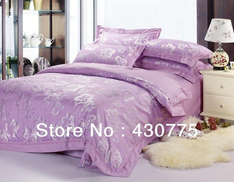 Free shipping silk cotton 4pcs bedding set violet color for Bedding violet