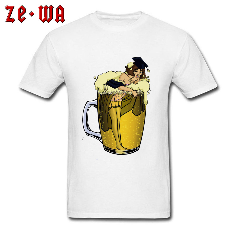 US $7.32 40% OFF|Man Top T shirts Pin Up Girl In Beer Barest Bathing Funny Tops & Tees Pure Cotton Amazing Tshirt Men Time For Summer Holidays in