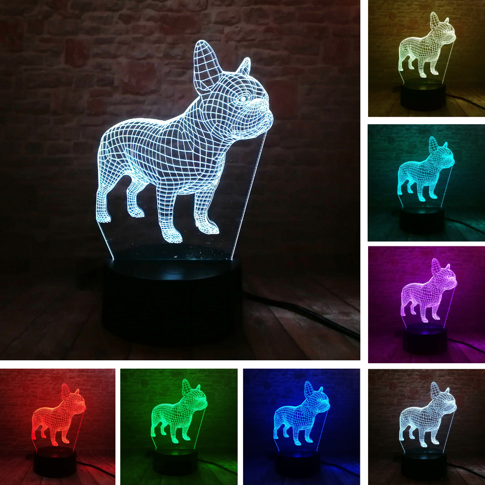 French Bulldog 3D LED Night 7 Colors USB Hologram Lamp Table Desk Light Baby Sleeping Decor Decor Friend Toys Gifts Dropshipping