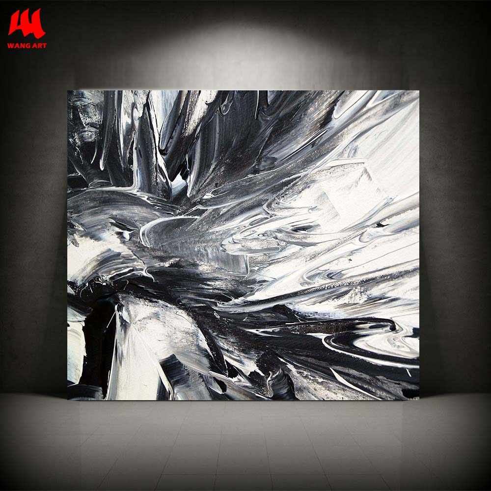 Wangart Minimalist Art Giclee Abstract Black White Art Oil Painting Canvas Print Wall Pictures For Living Room Home Decor