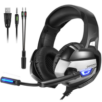 ONIKUMA Gaming Headphones Deep Bass Stereo game Headset with Microphone Computer Wired Earphone LED light for PC PS4 Laptop Xbox