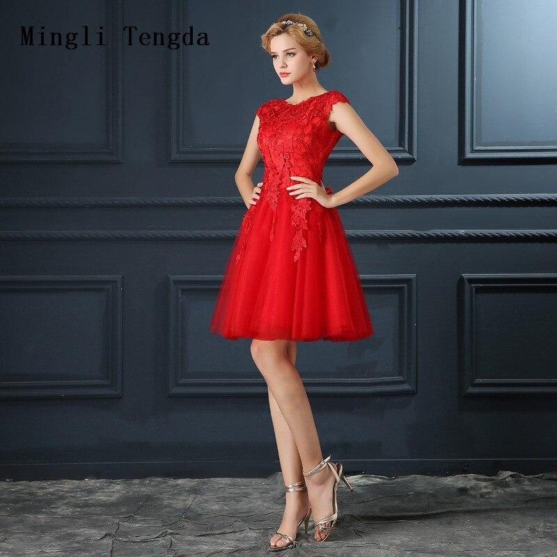 Mingli Tengda Red Short Bridesmaid Dresses Shoulder Lace Dresses Wedding Dress Bridal Gown Backless Mesh Flower Bridesmaid Dress