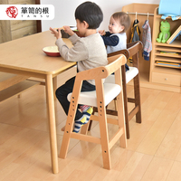TANSU children's chair rice chair backrest solid wood high chair baby lift heightening eat growth baby dining chair