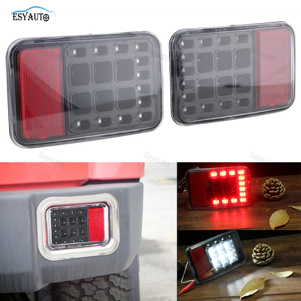 (1 Pair) Rear Bumper Fog Parking Reverse Tail lights Brake Lamp Plug and Play for Jeep Wrangler JK 2007-2016 car styling tail lights for toyota highlander 2015 led tail lamp rear trunk lamp cover drl signal brake reverse