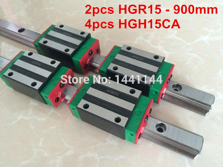 HGR15 HIWIN linear rail: 2pcs HIWIN HGR15 - 900mm Linear guide + 4pcs HGH15CA Carriage CNC parts cnc hiwin hgr15 1700mm rail linear guide from taiwan