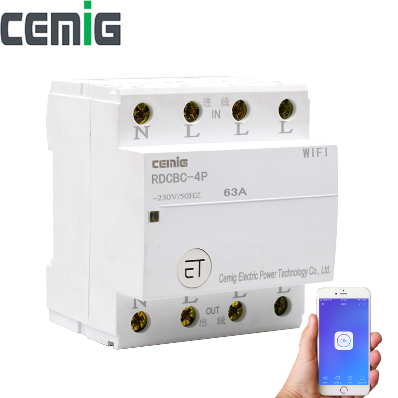 WiFi Circuit Breaker Remote Control by eWeLink Voice Control With Amazon Alexa and Google Home 18mm Din Rail Cemig RDCBC 4P-in Circuit Breakers from Home Improvement    1